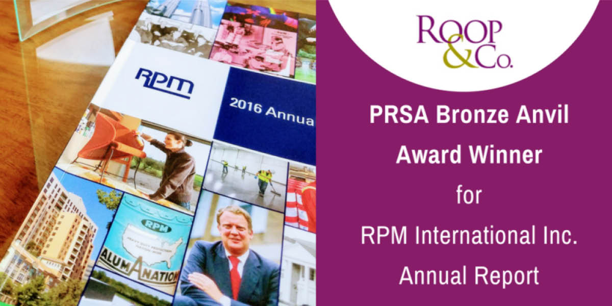 Roop & Co. Wins 2017 PRSA Bronze Anvil Award for RPM Annual Report