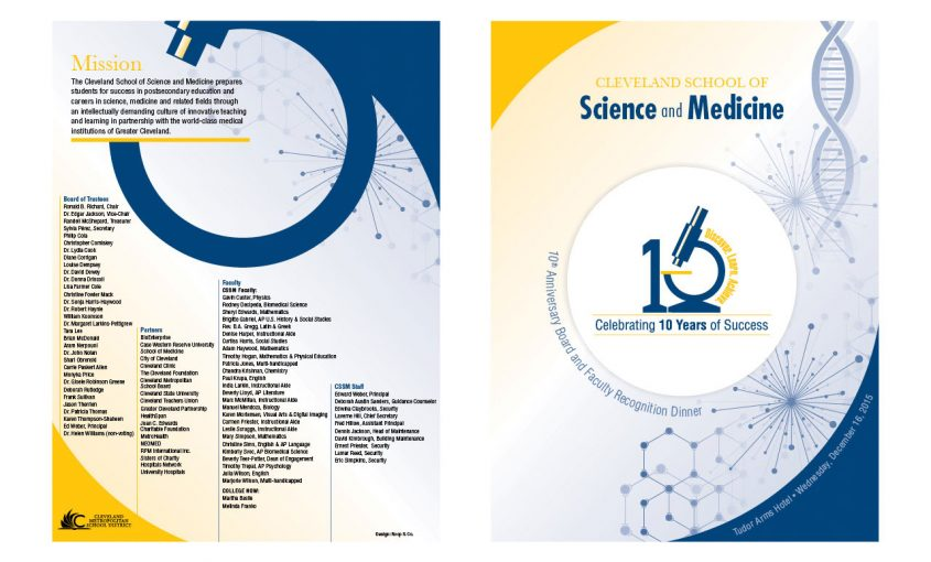 10th Anniversary Graphic and Event Collateral for Cleveland School of Science & Medicine