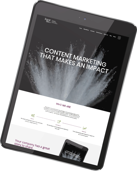 roop & co. | content marketing that makes an impact, iPad screen