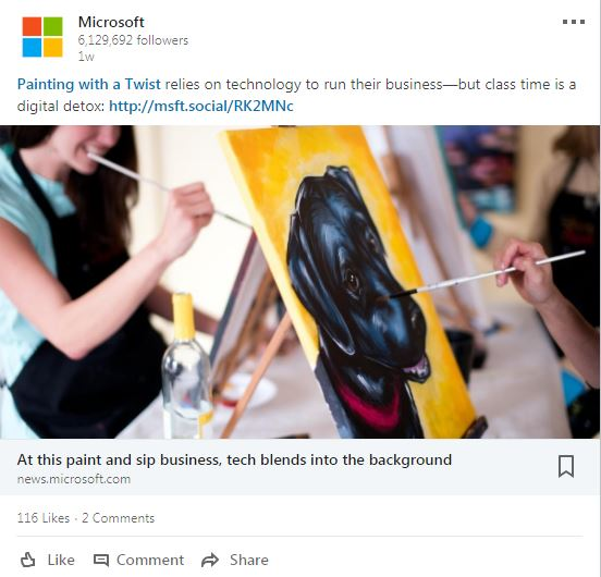 Microsoft Painting with a Twist LinkedIn Post